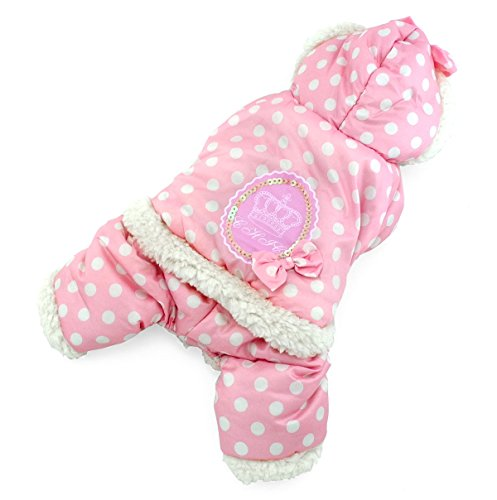 SELMAI Polka Dots Hooded Warm Pet Fleece Jumpsuit Puppy Winter Snowsuit Small Dog Cat Coat Jacket Pjs Outfits Chihuahua Clothes Apparel Pink ()