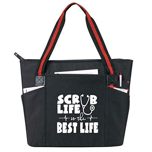 Large Nursing Tote Bags for Nurses - Perfect for Work, Gifts for CNA, RN, Nursing Students (Scrub Life Black) ()