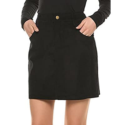 Cheap Zeagoo Women's Pocket Corduroy High Waist Solid Mini Sheath Short A-Line Skirt