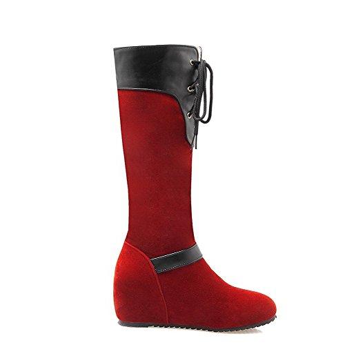 AgooLar Damen Blend-Materialien Rund Zehe Rein Mitte-Spitze Mittler Absatz Stiefel, Weinrot, 35