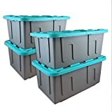 Durabilt 27 Gal. Plastic Storage Tote, Gray/Teal (Set of 4) - 30.75 x 20.50 x 14.38 Inches