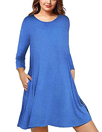 AMZ PLUS Womens Plus Size Long Sleeve Casual Swing Tunic Dress with Pockets Blue XL