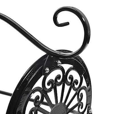 Sungmor 2 Tier Flat Plate Iron Art Flowerpot Stands, 2 Pots Vase Planter Rack Plant Holder Floor Shelf?Garden Patio Corridor Indoor Outdoor Decorative Display Flower Rack (33cmL24cmW60cmH, Black) : Garden & Outdoor
