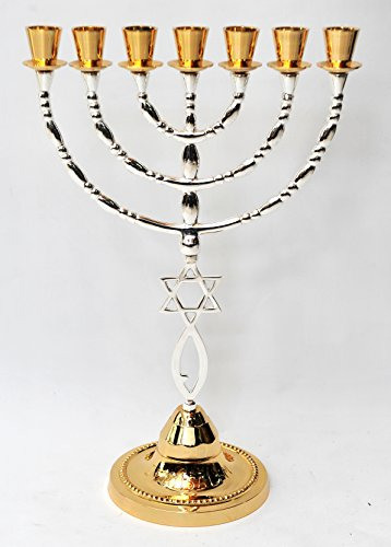 Menorah Gold & Silver Plated W/ Magen David From Holy Land Jerusalem H/39 x W/26 CM by Jerusalem Menorah