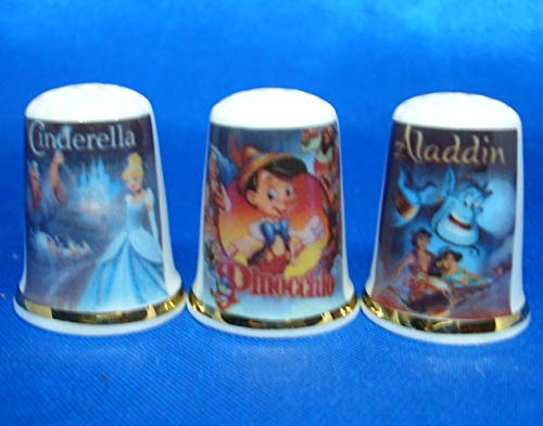 Birchcroft Porcelain China Collectable - Set of Three Thimbles - Cartoon Film Posters