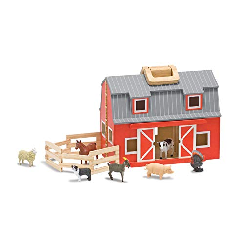 (Melissa Unisex and Doug Wooden Fold Go Barn Set No Color One Size)