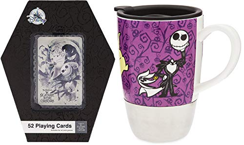 Jack & Sally Oogie Scene Card Game Nightmare Before Christmas Classic Exclusive Coffin Box + Character Jack Skellington Boogie Collectible Drinking Mug -
