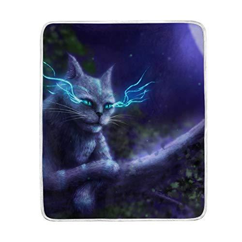 DOSHINE Couvre-lit Couverture, Animal de Cheshire Cat Lune Doux léger Warmer couvertures 127 x 152,4 cm pour canapé lit Chaise de Bureau