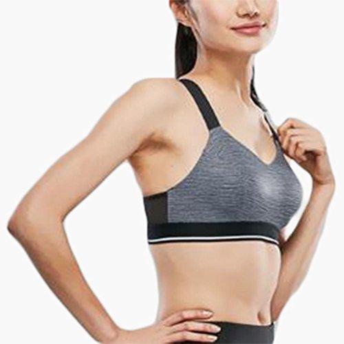 Sostén deportivo chaleco señoras no anillo de acero respirable nuevo sujetador deportivo ropa interior Grey