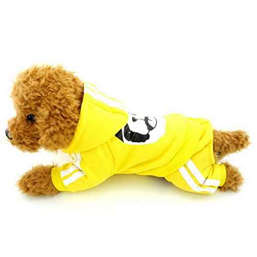 Ranphy Small Dog Fleece Sweatshirt Hoodie Puppy Jumpsuit Hooded Outfits Warm Sweater Yorkie Chihuahua Apparel Girls Boys for Autumn Winter Yellow Size ()