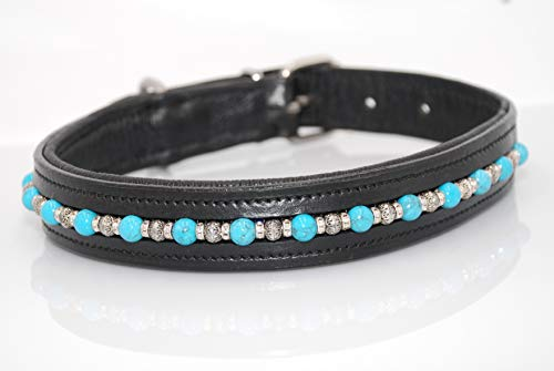 (Dog Collar with Faux Turquoise Beads Clear Crystal Rondells)