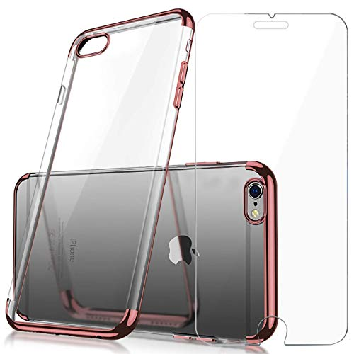 Screen Protector Set Crystal Clear Anti-Scratch TPU Cover Case with Tempered Glass Screen Protector and Soft Shock Absorption Bumper for iPhone 6 Plus/6s Plus (Silver) ()