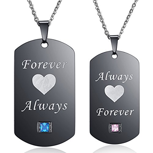 Linni Thintom Couples Necklaces Forever Always Matching Set Titanium Stainless Steel Couple Pendant Necklace in a Gift Box