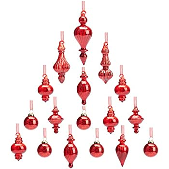 youseexmas mouth blown glass christmas ornaments pack of 17 small size red - Small Christmas Ornaments