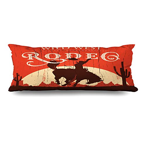 Ahawoso Body Pillows Cover 20x54 Inches Western Rodeo Cowboy Riding Wild Horse On Sports Recreation West Vintage Texas Old Bronco Decorative Cushion Case Home Decor Pillowcase