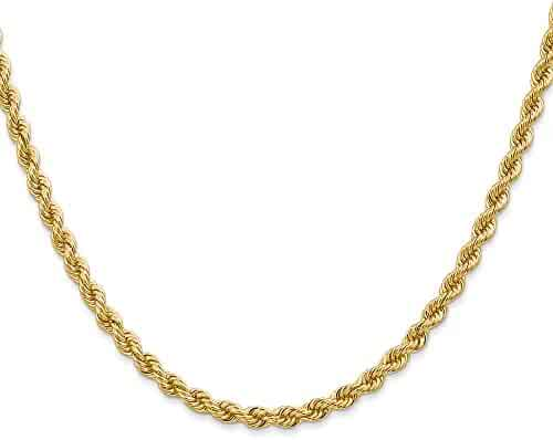 14k Yellow Gold 24in 3.65mm Handmade Regular Rope Chain Necklace
