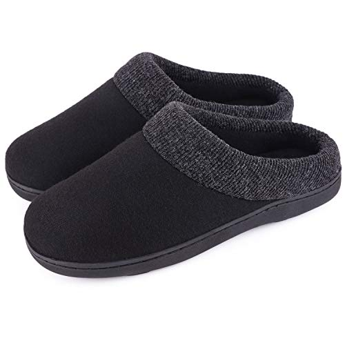 Women's Comfort Slip On Memory Foam Slippers French Terry Lining House Slippers w/Anti Slip Sole (9-10 M US, Black)