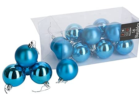 16 pack of turquoise christmas baubles shiny and and matt mix xmas tree decorations