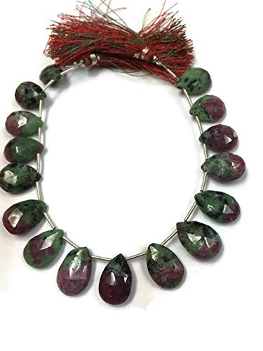 Super Quality Gemstone Beautiful Jewelry 11x15-13x16 mm - Ruby Zoisite faceted Pear Briolette - 16 Beads - 9 Inch Strand Code-JP-6068   B07KDR6YXK