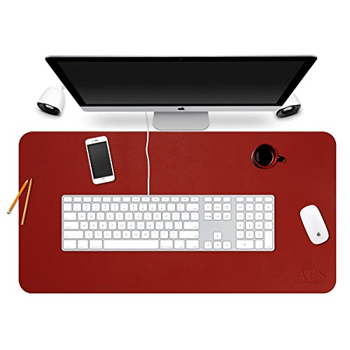 YAPISHI PU Leather Desktops and Laptops Mouse Pad/Mat,Ultra-Smooth Ultrathin Sueding Backside Large Pad Writing/Gaming Desk Pad, 31x15(Red)