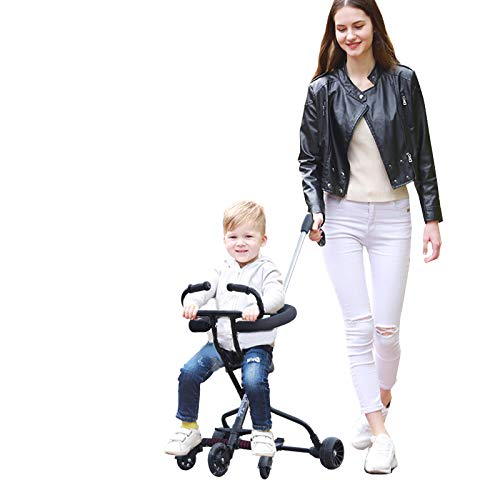 Lightweight Baby Stroller Portable Stroller with Brake and Safety System for Toddler 2-8 Years Old (Black)