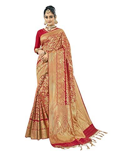 Viva N Diva Sarees for Women's Kanchivaram Art Silk Red Heavy Zari Woven Saree with Un-Stiched Blouse Piece,Free Size