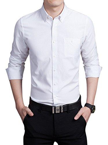 Chouyatou Men's Basic Collared Long Sleeve Dress Shirt One-Pocket (Medium, White) White Pointed Collar Dress Shirt