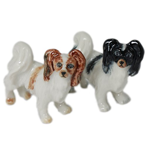 2 Papillon Dog Puppy Set Miniature Animal Ceramic Pottery Figurine (2