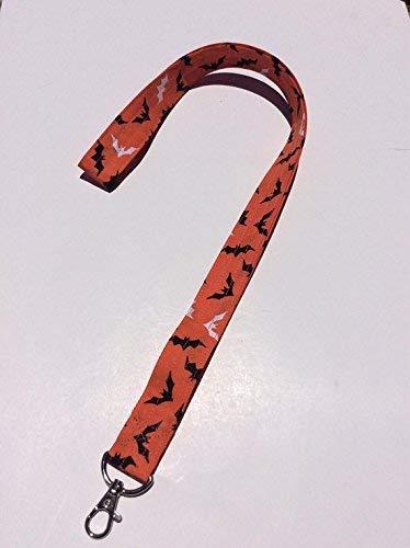 Bats Lanyard Keychain Key Keeper Halloween Black and Orange ID Badge Holder -