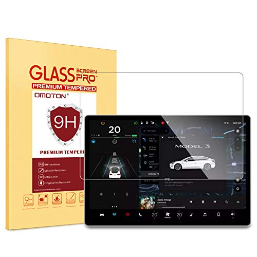 OMOTON Screen Protector for Tesla Model 3 15 Inch Car Navigation, Tempered Glass/High Transparency/Bubble Free