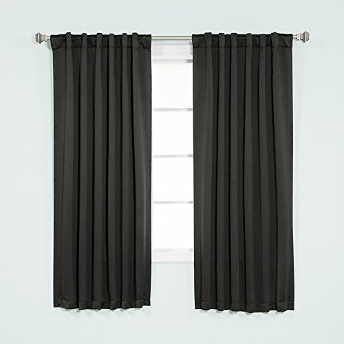 Best Home Fashion Thermal Insulated Blackout Curtains - Back Tab/ Rod Pocket - Black - 52