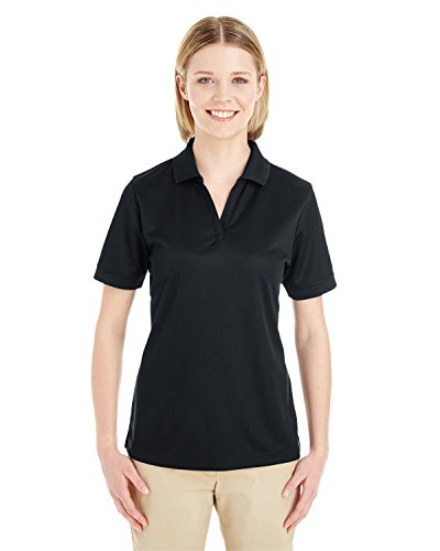 Averill's Sharper Uniforms Women's Ladies Textured Athletic Mesh Polo Shirt Large Black