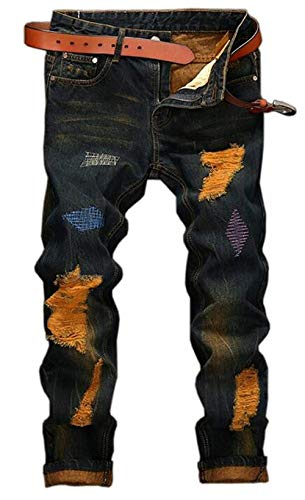 Pantaloni Trend Qk Badge Time Da Slim Distressed Reality Ragazzo Retro 162 lannister Uomo Leisure Denim Blau Hole Jeans Straight HZzarqHw