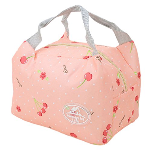 (Meolin Oxford Cloth Aluminum Foil Insulated Lunch Bag Lunch Box Package,Pink cherry,7.875.916.30inch)