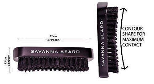 SAVANNA BEARD Conjunto para cuidado de la barba - Cepillo de cerdas de jabalí 100% peine doble de sándalo verde con funda de cuero sintético tijeras ...