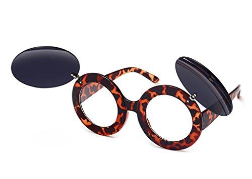 Flip Box de Double Soleil Hommes Couleur des Soleil Lunettes de Lunettes Lunettes Couche Round X6 Big Retro de Lunettes Tide 4 Soleil 4 Flat Mirror WEnqR7Iq