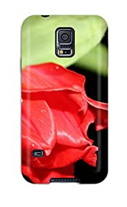 Heidiy Wattsiez's Shop Tpu Shockproof Scratcheproof Red Flower In Black Hard Case Cover For Galaxy S5 8344582K16749058
