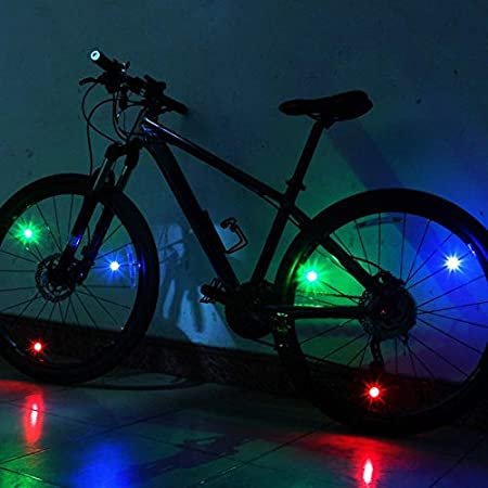 Luces de Rueda de Bicicleta L/ámpara de Tira de Cadena de radios Mini Luces LED Reflectores de Flash WASAGA Luces de Advertencia