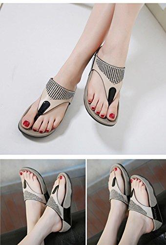 Tongs Minetom Plage Chaussure Compensées Sandales Mode Bohème Noir Femme Vacances Été Plates Strass Flip Flops Talon q7rO1qwY