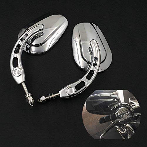 HTTMT MT398A-CD Chrome Big Side Mirrors Compatible with 1984 and up Harley Davidson