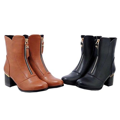 Aiyoumei Womens Rits Ronde Neus Blok Hiel Booties Solide Herfst Winter Enkellaars Korte Laarzen Zwart
