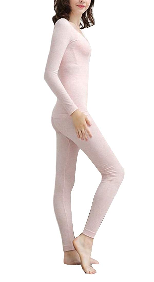 WSPLYSPJY Womens Solid Color Long Sleeve Round Neck Slim Fit Thermal Underwear Set