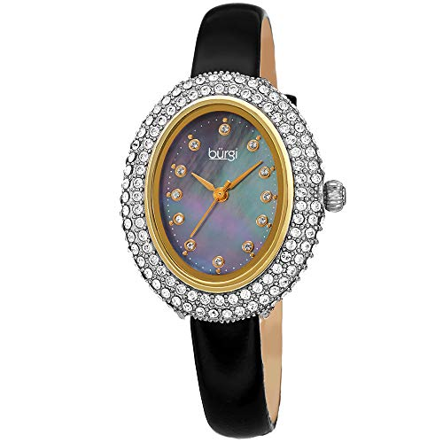 - Burgi Swarovski Crystals Oval Watch - Genuine Swarovski Studded Double Row Crystals, Patent Leather Strap, 12 Crystal Markers On Mother of Pearl Dial - Mother's Day Gift- BUR234BK (Black)
