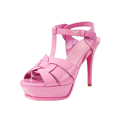 ENMAYER Frauen Western Bankett Super-High Heels Mehrfarbige Sandalen Plattform Lackleder Schuhe Rosa (13.5cm)