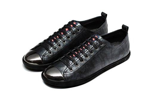OPP Hombres Flats Zapatos de Piel Negro
