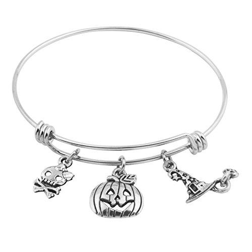 SEIRAA Pumpkin Bracelet Halloween Gift Witch Bracelet Skull Charms Bracelet Adjustable Wire Bangle Bracelet (bracelet) (Wicked Bracelet Charm)