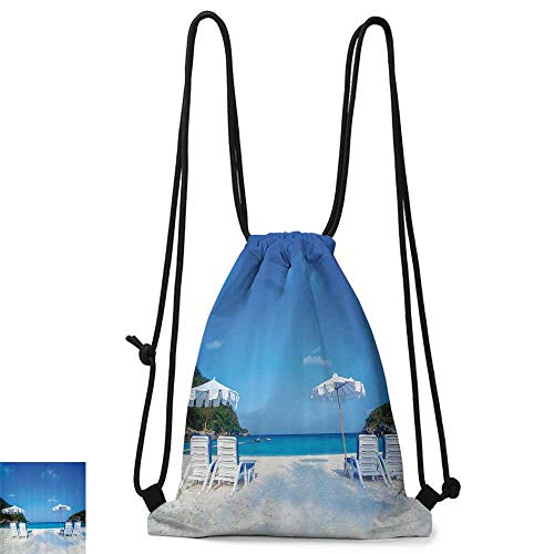 Portable backpack Seaside Decor Collection Seaside Hills Sandy Beach with Chairs Umbrellas Facing Sea Photography W14