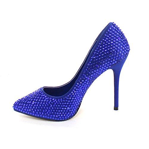 Pleaser - Zapatos de vestir para mujer 42 Blue Satin