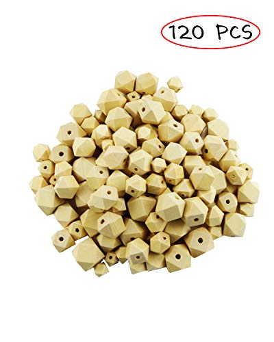 TWDRer 120 PCS 6 Size 10/12/14/16/18/20mm Unpainted Faceted Geometric Wood Beads Handmade Necklace Wooden Spacer Beads for Jewelry Making Bracelet Garland Crafts Hair