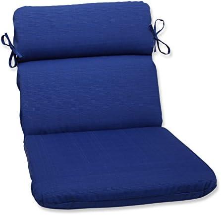 Pillow Perfect Outdoor Indoor Veranda Cobalt Round Corner Chair Cushion, 40.5 x 21 , Blue